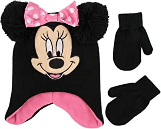 Disney girls Minnie Mouse Character Hat and Mittens Cold Weather Set Winter Accessory Set Age 2-4