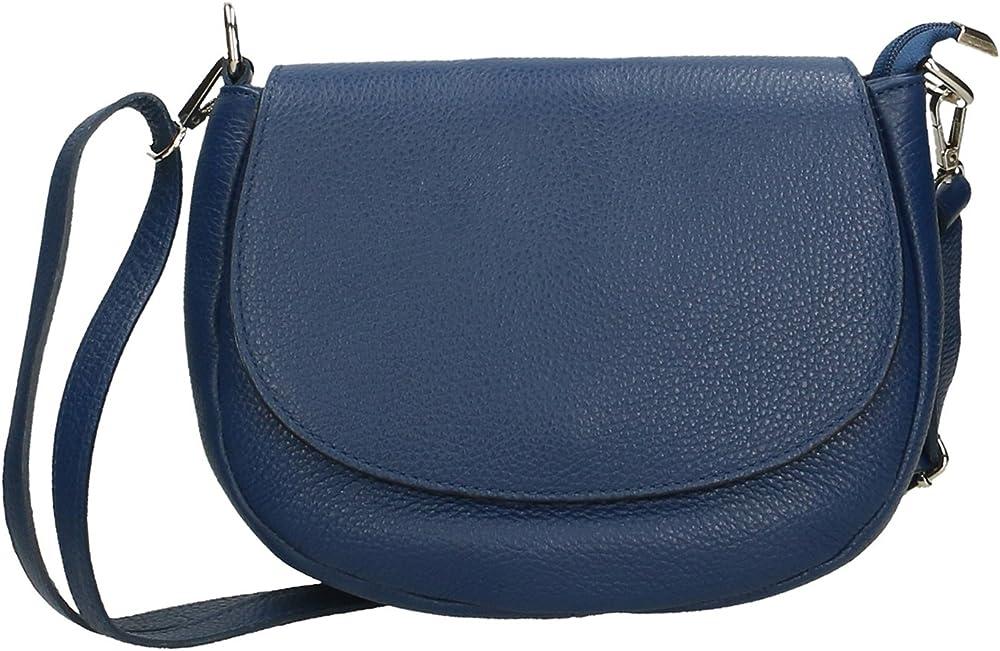 Aren crossbody clutch, borsa a tracolla da donna, in vera pelle, made in italy AR_3309-BLUE