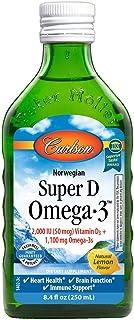 Carlson - Super D Omega-3, Wild-Caught Norwegian Arctic Cod Liver Oil, 2000 IU (50 mcg) Vitamin D3, 1100 mg Omega-3s, Sust...