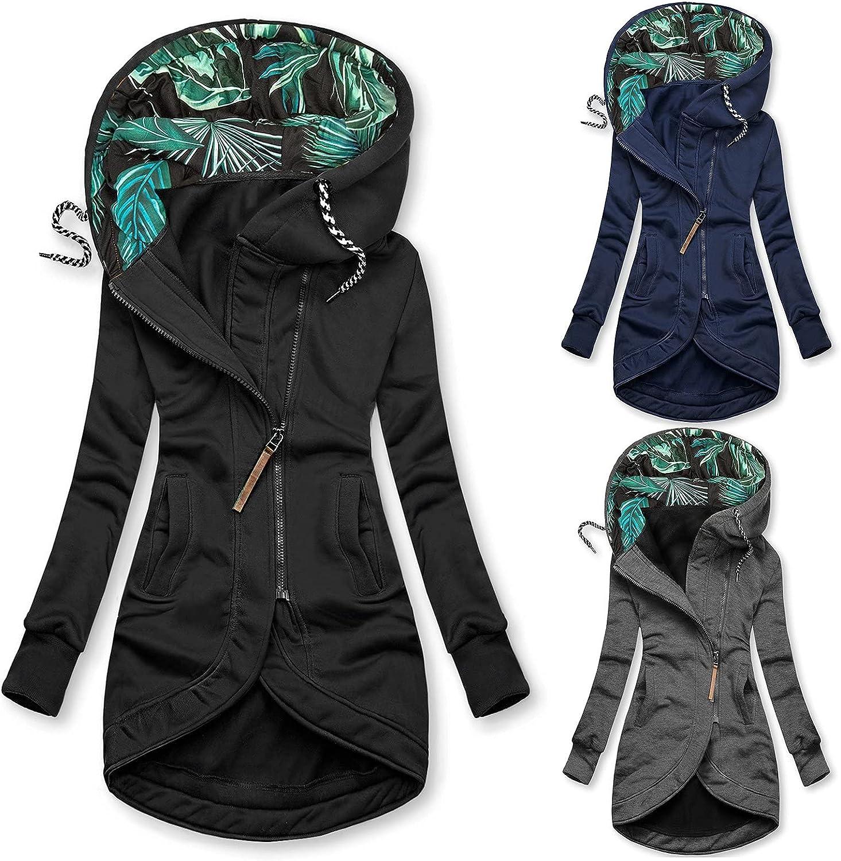 Long Hoodies Coats for Women Zip up Cardigan with Hood Long Trench Coats Cotton Hooded Windbreaker Jackets