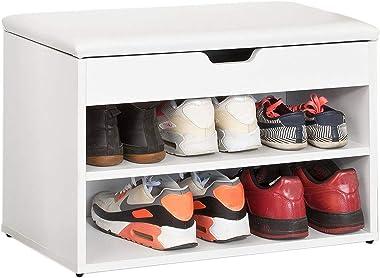 SoBuy® FSR25-W Banc de Rangement à Chaussures 2 étages avec Coussin Commode à Chaussures Confortable- Blanc