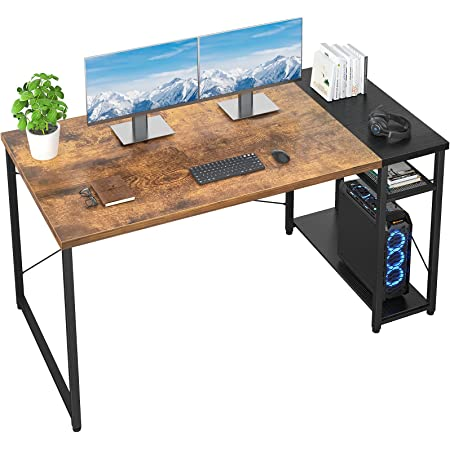 Foxemart Computer Desk 47 Inch Home Office Desk Industrial Sturdy Writing Table with Storage Shelves Modern Simple Style PC Desk for Home Office Study Room Workstation, Rustic Brown and Black