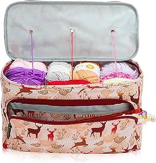 Sac à tricot, sac de rangement pour fil avec séparateur intérieur pour fil et projet inachevé, crochets, aiguilles à trico...
