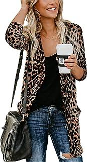 MarcoJudy Women's Leopard Print Button Down Lightweight Open Front Shirt Cardigans