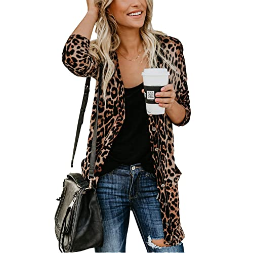 3a93379c315f MarcoJudy Women's Leopard Print Button Down Lightweight Open Front Shirt  Cardigans