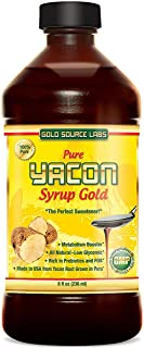 Pure Yacon Syrup Gold - All Natural Sweetener and Sugar Substitute, Highest FOS Prebiotics, 8 oz - Raw Root Extract Controls Appetite, Boosts Metabolism, Lowers Blood Sugar, Keto Weight Loss Diet