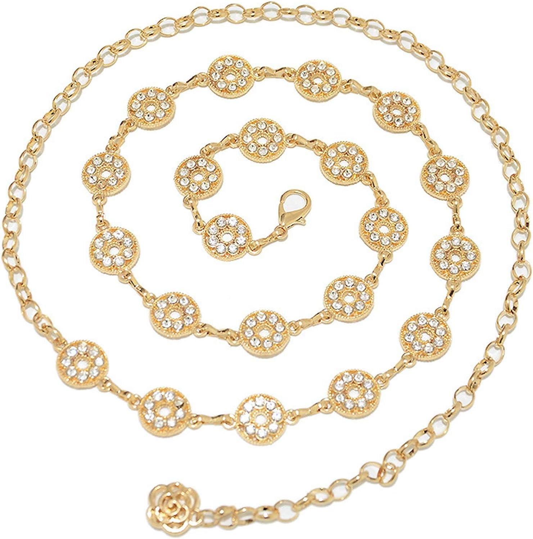 Rhinestone Chain Belt Elegant Crystal Waist Belts Metal Belt for Women Girls Exquisite Jewelry Dress Gift