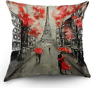 パリ投げピローケース恋人のフランスでのキスストリート赤い傘の葉エッフェル塔バレンタインデーの枕カバー装飾的な正方形のクッションアクセントコットン用ソファーチェアグレー、45×45 CM