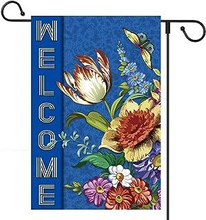 علم ترحيب بالحديقة وربيع من كارلون، 71.12 سم × 101.6 سم، علم الترحيب بالمنزل، مطبوع على جانب مزدوج الزهور يضفي على فراشات ...