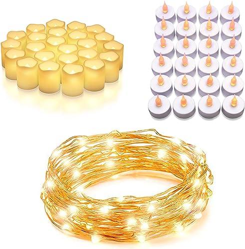 high quality Vont Ultimate Home Lighting Bundle - 24-Pack Votive Candles + String Lights + 36-Pack Tea Lights - Light Decors online for Bedroom, high quality Garden, & Patio - Elegant & Ambient - Prime Quality, Safe, & Long-Lasting outlet sale