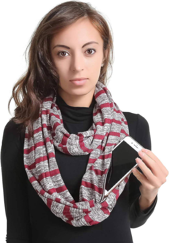 Premium Women Infinity Scarf With Zipper PocketSoft Stretchy Jersey, 30Day