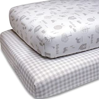 The Peanutshell Fitted Crib Sheet Set for Baby Boys or Girls | 2 Pack Sheets in Plaid & Farm Themes | Fits Standard Crib M...