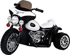 Homcom Moto électrique pour Enfants Chopper Police 6 V env. 3 Km/h 3 Roues Effet Lumineux et sonore Noir et Blanc