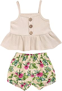Toddler Baby Girl Clothes Summer Sleeveless Shirt Halter Ruffle Tops+Floral Shorts Outfit Set