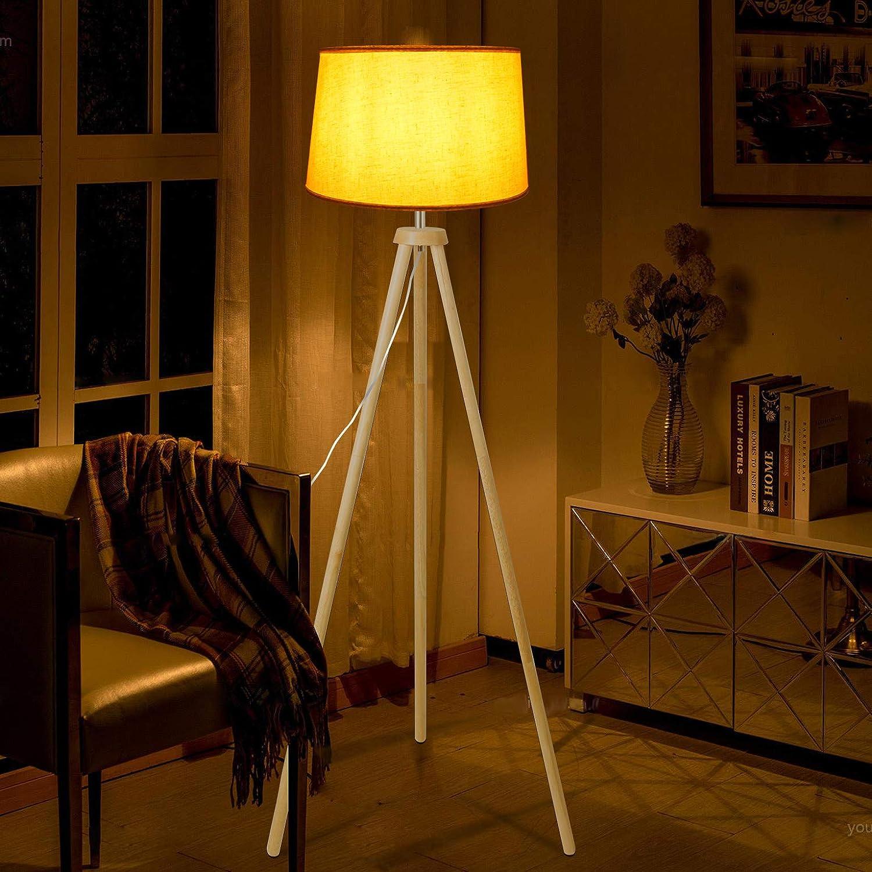 CCLIFE Modern Stehlampe LED Holz Standleuchte Stehleuchte Stoffschirm Schwenkbar E27 f/ür Schlafzimmer Esszimmer Hotel Flur Halle Farbe:Beige-Lampeschirm