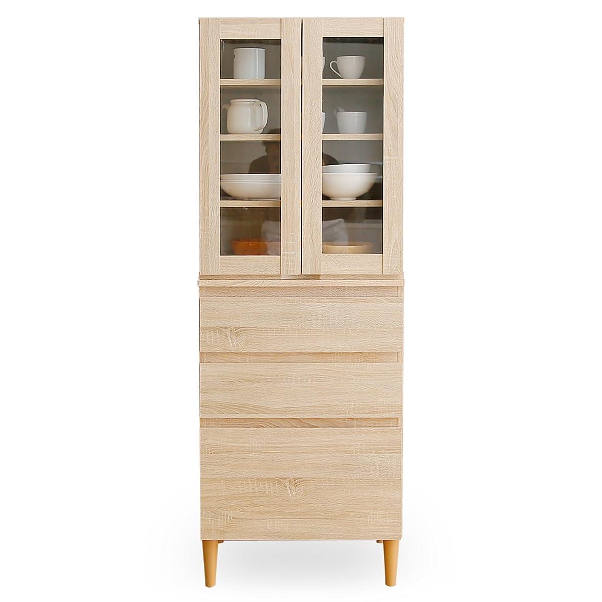 シャット不利益屋内でLOWYA キッチン 収納 食器棚 レンジ台 食器収納 引き出し 3段 上段B+下段B オーク