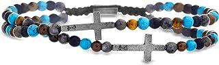 Cross Station Double Strand Beaded Adjustable Bracelet...