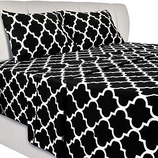 Utopia Bedding Printed Bed Sheet Set - 4 Piece Microfiber Bedsheet Set (King, Black)