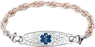Divoti Custom Engraved Medical Alert Bracelets for Women, Stainless Steel Medical Bracelet, Medical ID Bracelet w/Free Engraving – Beautiful Olive Tag w/Inter-Mesh Rose Gold/Silver – Color/Size