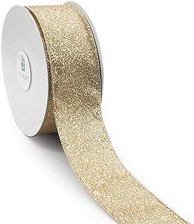 CT CRAFT LLC Satin with Glitter Light Gold Wired Ribbon - 1.5 Inch x 10 Yards x 1 Roll