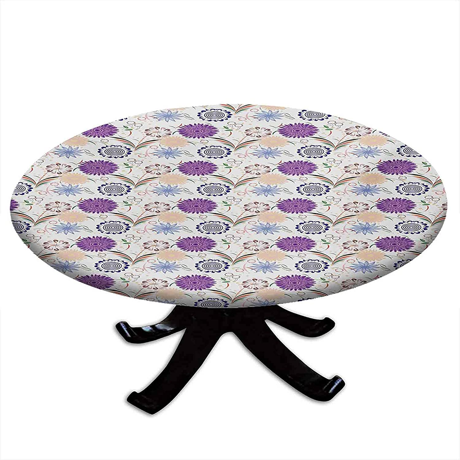 Round NEW before selling ☆ Tablecloth with Elastic Special Campaign Vintage Inspirations Edges D