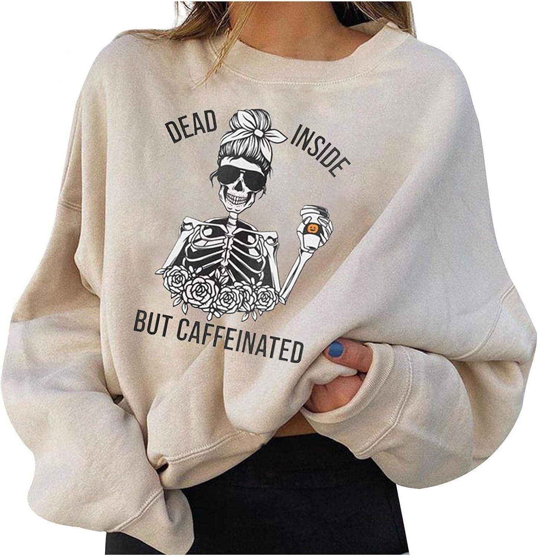 Halloween Sweatshirts for Women, Halloween Pumpkin Skull Printed Long Sleeve Pullover Blouses Casual Sweater Shirts Tops