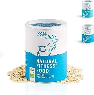 SOCAS Bio Sojaflocken – 300g Basic Protein Flakes / 100% Bio Soja Made in Germany / glutenfreie & entölte Soja Flocken – grob & fein Grobe Soja Flakes