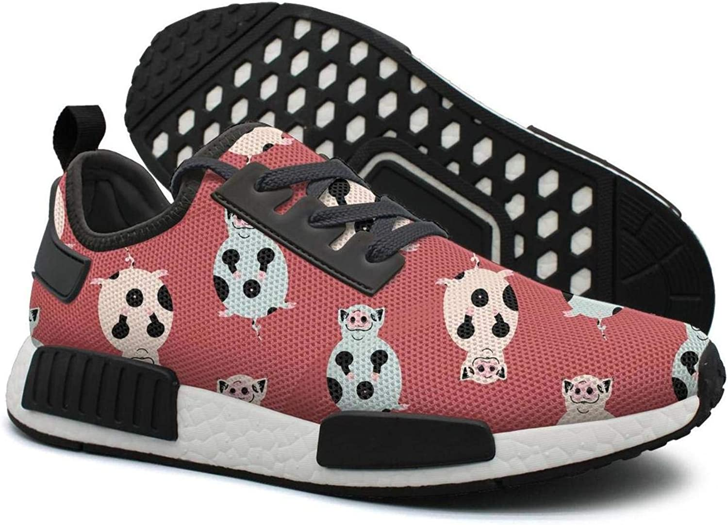 Pduiqo Red Fat Cute Spotted Pig Women's Navy Lightweight Tennis Sneakers Gym Outdoor Athletic shoes