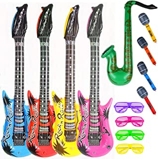 Party Inflatable Rock Star Toy Set,13 Pack,4 Designs Inflatable Toy Set,4 Electric Guitar,4 Microphones,4 Shutter Shading ...