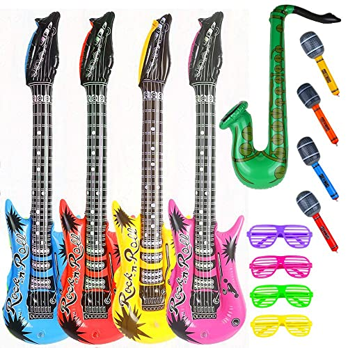 12PCS Inflatable Music Guitar Microphone SAXOPHONE COLOURFUL BLOW UP Party Prop