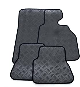 Custom Fit Tailor Made Black Rubber Interior Protection Car Mats for  2012-0000  Neat Black Ribbed Stitched Edging Trim