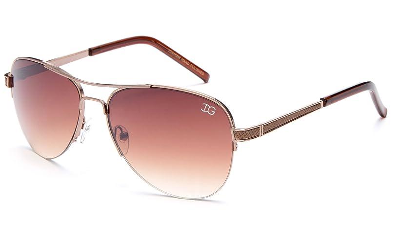 Newbee Fashion - Womens IG High Quality Metal Frame Aviator Style Fashion Half Frame Sunglasses