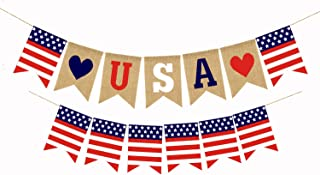 2 Pcs American Burlap Banner Independence Day Decoration White and Blue Stars Banner for 4th of July Decor