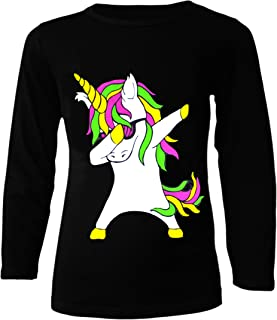 Kids Dabbing Unicorn Long Sleeve Top T-Shirt and Leggings Set Girls Boys Dab Dance Fashion Clothing Pink