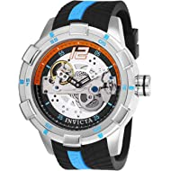 Invicta Men's S1 Rally Stainless Steel Automatic-self-Wind Watch with Silicone Strap, Black, 24...