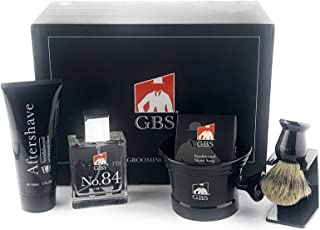 GBS Premium Men's Wet Grooming Shaving Set-Gift Boxed-Ceramic Black Shaving Mug with Knob Handle, Pure Badger Hair Brush + Stand, Sandalwood Shave Soap, No.84 Cologne, and Sandalwood Aftershave!