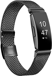 IEOVIEE Metal Loop Bands Compatible with Fitbit Inspire HR & Fitbit Inspire & Ace 2 Band, Adjustable Stainless Steel Repla...