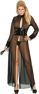 Elegant Moments Women's Plus-Size Mesh and Vinyl Long Sleeve Gown, Black, 1X