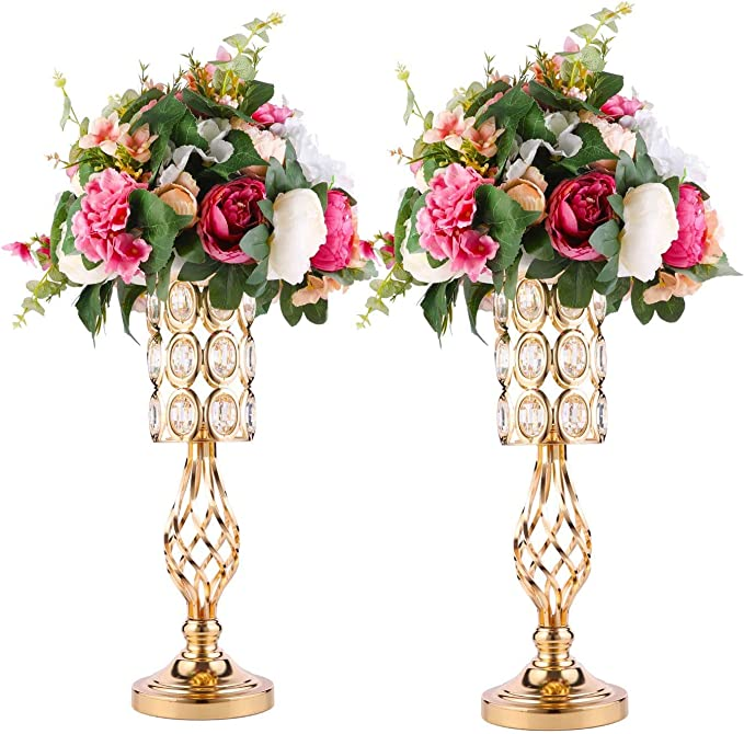 Metal Crystal Wedding Centerpiece Vases for Tables