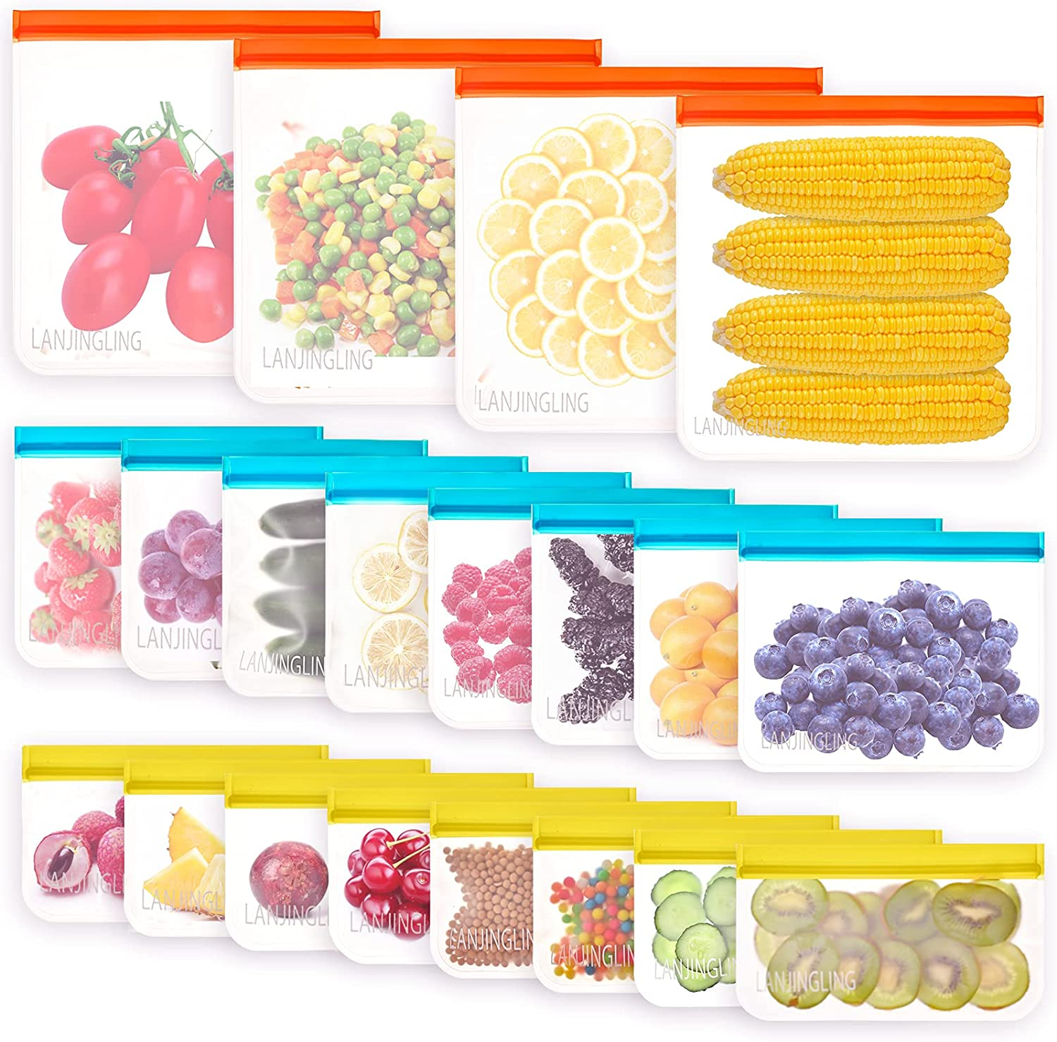 Reusable Food Storage Bags - 20 Pack BPA Free Freezer Bags (4 Reusable Gallon Bags + 8 Reusable Sandwich Bags + 8 Kids Snack Bags), Super Thick, Leak Proof Resealable Lunch Bag for Meat Fruit Veggies