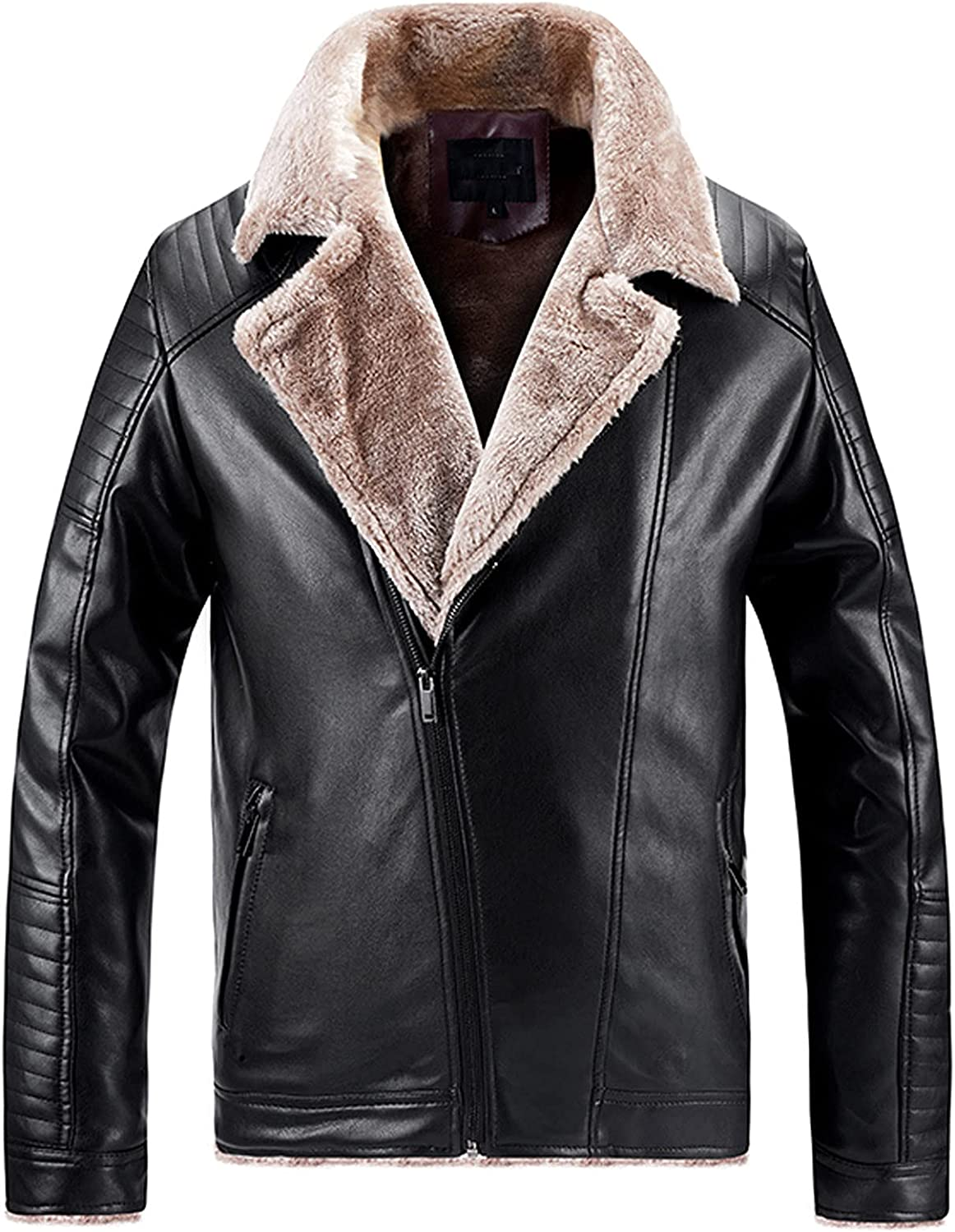 Beshion Mens Casual Sherpa Leather Jacket Winter Warm Long Sleeve Pockets Big and Tall Outwear Overcoat with Zipper