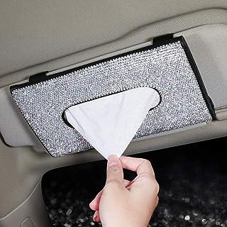 Titular de tejido de visera de coche, Bling Crystal Twinkle Servilleta Titular de PU Caja de cuero Caja de tejido Accesori...