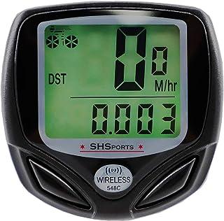 SHS2018 Ciclocomputador cuentakilómetros impermeable inalámbrico IP54 pantalla LCD retroiluminada con cronómetro para supervisión en tiempo real para ciclismo velocidad real y distancia Track