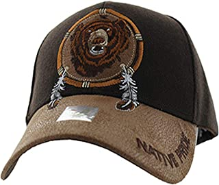 Native American Pride Bear Feather Baseball Adjustable Hat Cap Brown