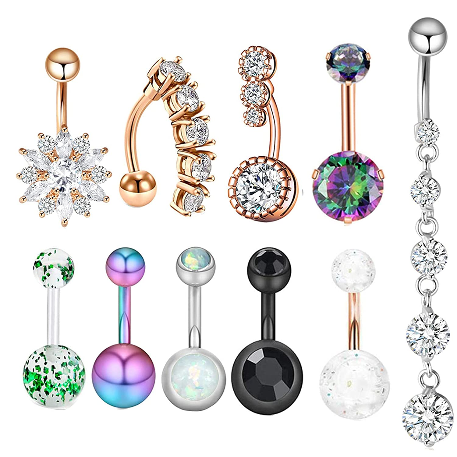 Belly Button Ring, 12 gauge Zircon Belly Button Ring Shinny Stainless Steel SET for Women Girls Navel Piercing Bars Dangle Body Jewelry (10PCS)