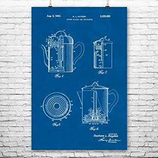 Coffee Roaster & Percolator Poster Print, Barista Gifts, Coffee Shop, Cafe Owner, Espresso Lover, Kitchen Art Blueprint (11