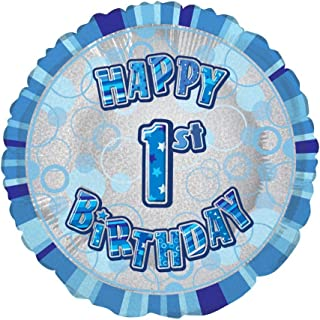 "Unique Glitz Blue 1st Birthday Prismatic Foil Balloon, Multi, 45cm (18"")"