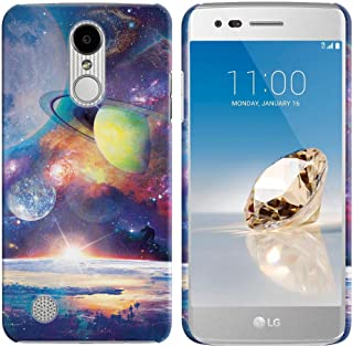 FINCIBO Case Compatible with LG Aristo MS210 LV3 K8 2017 Phoenix 3 M150 Fortune, Back Cover Hard Plastic Protector Case Stylish Design for LG Aristo MS210 (NOT FIT K8 2016) - Dream Cosmos Galaxy
