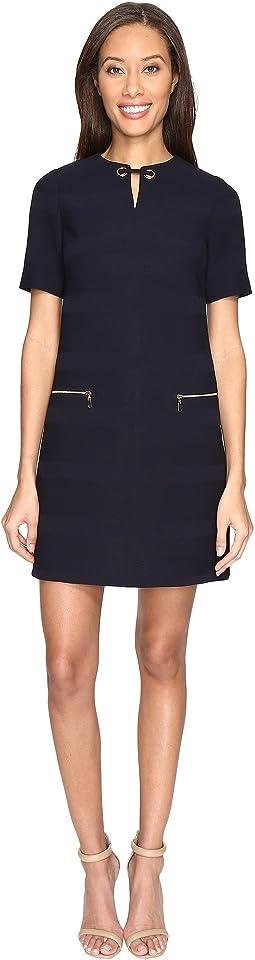 Textured Scuba Neck Detail Shift Dress