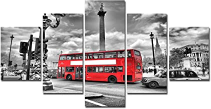 Framed Wall Art Canvas Prints - Black and White London Painting Cityscape Poster Red Bus Pictures for Bedroom Living Room Decor Home Office Decoration Kitchen Modern Artwork 5 Panel Ready to Hang